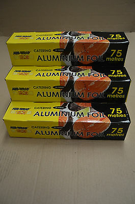 2 X Heavy Duty Catering Kitchen Foil Aluminium Food Wrapping 75m x 300mm Tin Foi