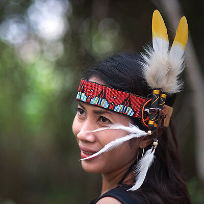 Pocahontas Costume, Indian Headband, Native American, Chief Warbonnet, Feathers