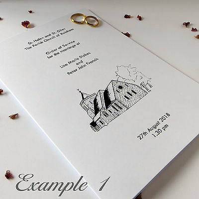 Personalised Wedding Order of Service Simple Affordable, Covers, Sheet, Booklet.