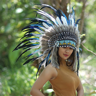 Costume Headdress, Indian Headdress, Native American, Chief Warbonnet, Feathers