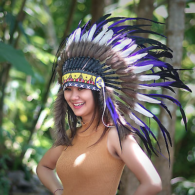 Free Fast Shipping, Indian Headdress, Native American, Chief Warbonnet, Feathers