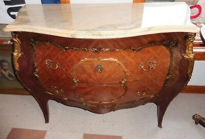 Vtg  French Bomba Commode-Chest Marble Top