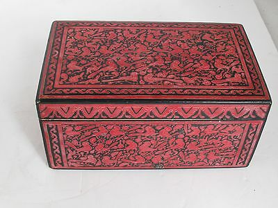 Vintage Mexican Olinala Guerrero Laquer Incised Box Red and Black Rabbits & Bird