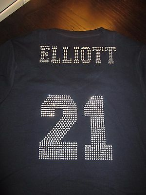 Dallas Cowboys Rhinestone Elliott 21 Bling Navy Vneck