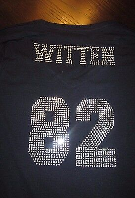 Dallas Cowboys Rhinestone Witten 82 Bling Navy Vneck