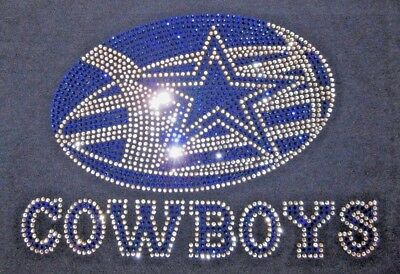 Dallas Cowboys Rhinestone Football  Bling Navy Vneck