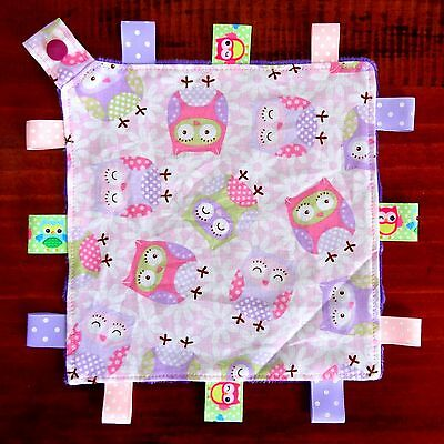 Pink Owl Mini Size TaGgie Tag Security Blanket Toy Sleep Comforter dummy holder