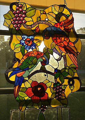 HAND CRAFTED STAINED GLASS TROPICAL BIRDS FLOWERS LEAVES Grapes WINDOW 24 x 18