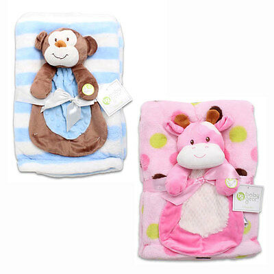 NEW Baby Gear 2 pcs Gift Set Soft Plush Blanket w Security Squeak Toy Blue Pink