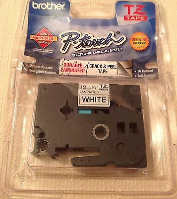 "Brother P-touch Black Print On White Tape 1/2""-New damaged pack- FREE SHIPPING"