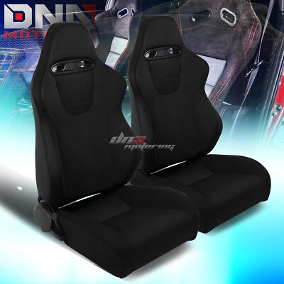 Pair Type-Xl09 Black Sports Jdm Racing Seats+Mounting Slider Rails Left+Right