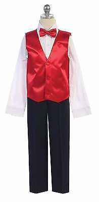 Boys Or Men Formal Satin Vest for Tuxedo Suit with Bowtie Made in USA All Sizes