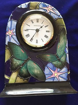 Moorcroft Bellbind & Butterflies limited edition clock by Emma Bossons