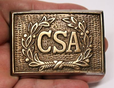 Reproduced <> Square CSA Belt Buckle <> Brass w.Raised Details <> Puppy Paw Back
