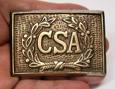 Reproduced    Square CSA Belt Buckle    Brass w.Raised Details    Puppy Paw Back