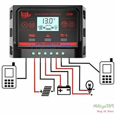 20A Solar Charger Controller PWM Dual USB Battery Charge Regulator Panel 12/24V