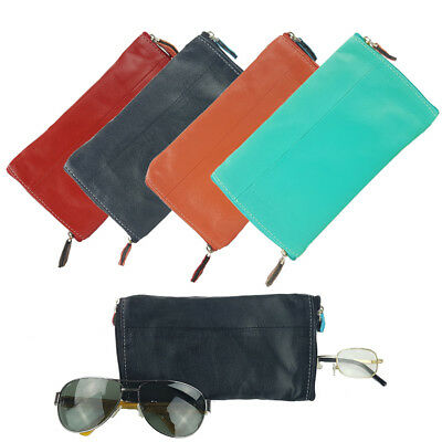 Genuine Sheep Leather Solid Coloured Spectacles & Accessories Case