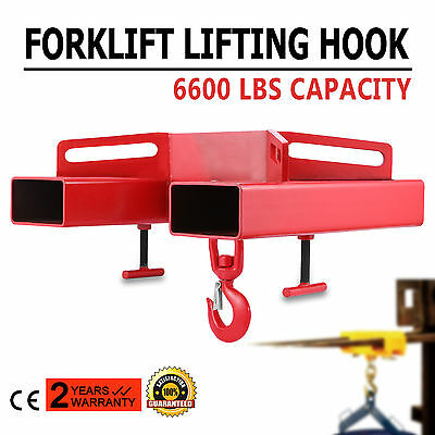 Forklift Lifting Hoist Crane Swivel Hook 6600lbs Crane Fork Adjustable