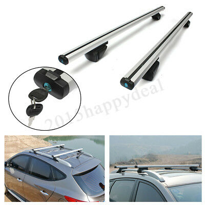 Universal Aluminum Car Roof Rack Bars Lockable Rails Anti Theft Luggage Carrier
