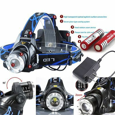 10000LM ZOOM Tactical T6 LED Headlamp Zoomable HeadLight + 18650 Battery+Charger