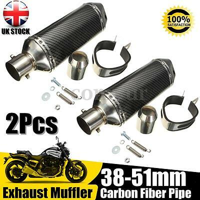 2x Motorcycle 38-51MM Carbon Fiber Exhaust Muffler Pipe w/ Movable Silencer -UK