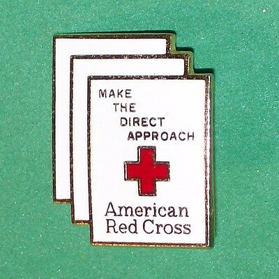 American Red Cross Make The Direct Approach 24K Gold Plated Enamel Lapel Pin