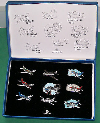 Aerospatiale Collection (9) Different Airplanes Lapel Pins W/original Blue Box