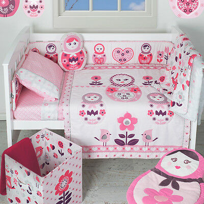 Living Textiles Adele 6 Piece Nursery Cot Set Bedding-Fitted Flat Quilt Blanket