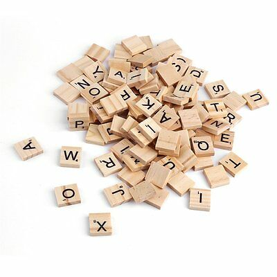 100pcs Wooden Alphabet For Scrabble Tiles Black Letters & Numbers Crafts Wood MG