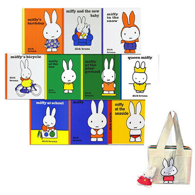Dick Bruna Miffy 10 Books Collection with Plush Toy in a Bag Miffy at the Zoo UK