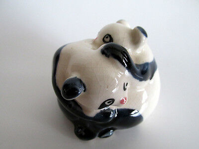 Vintage Ceramic Entwined Panda Bears Ornament Chinese /japanese Pottery ~Netsuke