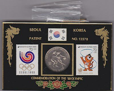 Cased 1988 South Korea 1000 Won Olympics Coin And Stamps In Mint Condition