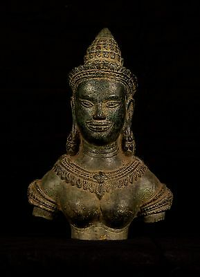 Antique Khmer Style Bronze Apsara or Angel Statue - 20cm/8""