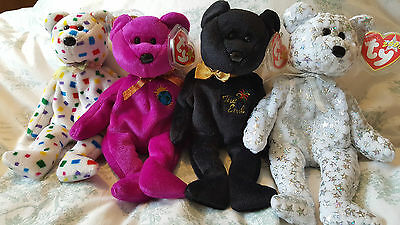 Vintage Beanie Baby Set, The End, TY2K, Millennium, The Beginning 1999/2000 Rare