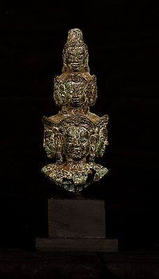 "Antique Khmer Style Bronze Hevajra Statue - 22cm/9"" Tall"