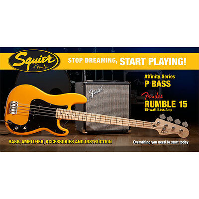 E-Bass Set Squier Affinity P-Bass & Rumble 15, BTB Bass Bundle Amp Verstärker Zu