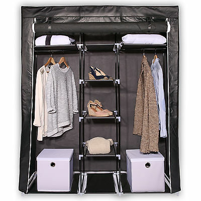 armoire de rangement penderie dressing en tissu intiss portemanteaux 170 cm eur 29 99. Black Bedroom Furniture Sets. Home Design Ideas