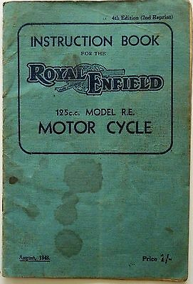 Royal Enfield Model RE 125cc Motor Cycle Instruction Book - 1948
