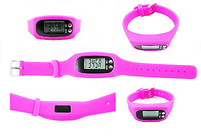 PEDOMETER Waterproof Step Calorie Distance Digital LCD Wrist Strap RUNNING PINK
