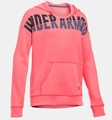 Under Armour UA Girls Pink Favourite Fleece Pullover Hoodie