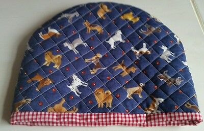 Handmade lined Quilted Tea Cosy novelty dogs blue red designer fabric gift xmas