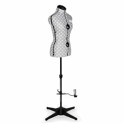 Ladies Adjustaform Dressmakers Tailors Dummy / Mannequin Grey/white Polka Dot