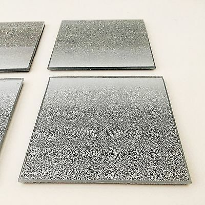 4 Glass Glitter Silver Sparkle Mirror  Coasters Kitchen Dining Table