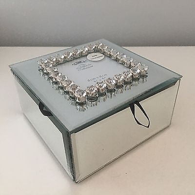 Crystal Diamante Mirrored Glass Jewellery Trinket Box Crystals Photo Frame Gift
