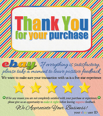 2500 CUSTOM ebay Seller THANK YOU COLORFUL Business Cards 5 FIVE STAR Feedback