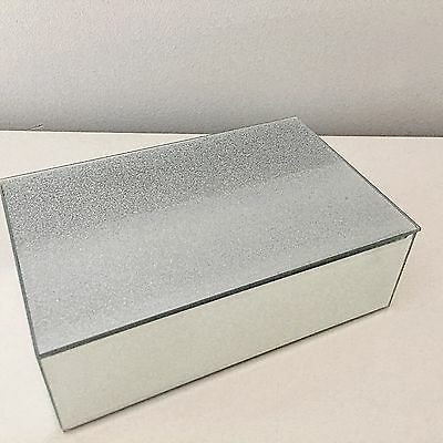 Crystal Diamante Mirrored Glass Jewellery Trinket Box Large Crystals Photo Frame