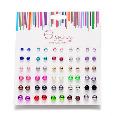 30 Pairs Of Pearl Ball Stud Earrings In Mixed Colors   Worldwide Free Shipping