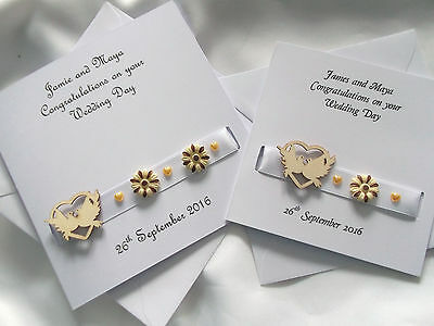 Personalised On Your Wedding Day Card (Gold hearts/Doves)