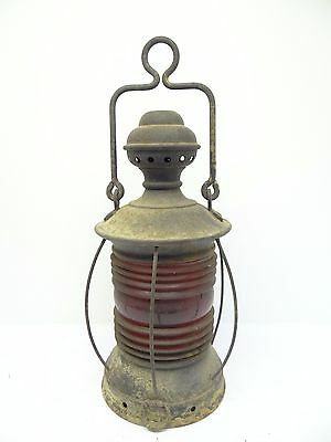 Antique Old Used Metal Red Glass Nautical Maritime Ships Lantern Lamp Parts