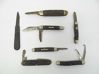 Mixed Lot 7 Staglite Handle IXL George Wostenholm Kingston Folding Pocket Knives